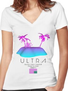 Shxps X Ultra collab Women's Fitted V-Neck T-Shirt