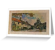 Bishop Auckland Cottages and Castle Gate Greeting Card