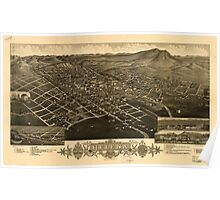 Panoramic Maps 1883 bird's eye view of Helena Montana The capitol of Montana and county seat of Lewis and Clarke Co Poster