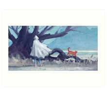 The white girl and the red cat Art Print