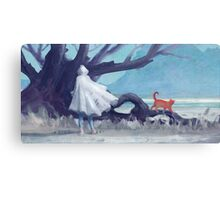 The white girl and the red cat Canvas Print