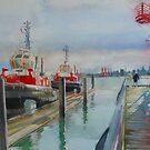 Tugboats, watercolor and mixed media on paper by Sandrine Pelissier