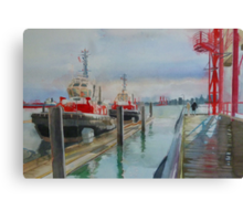 Tugboats, watercolor and mixed media on paper Canvas Print
