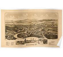 Panoramic Maps Vergennes Vt Poster