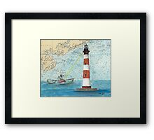 Morris Island Lighthouse SC Chart Map Cathy Peek Framed Print