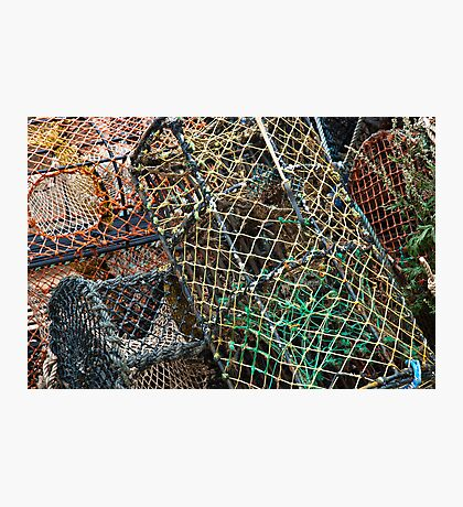 Stack of lobster fishing baskets  Photographic Print