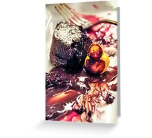 Maurice discovers Molten Cake. Greeting Card