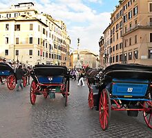 carriages in Rome by Anne Scantlebury