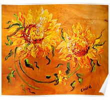 Fiery Sunflowers on Wood Poster