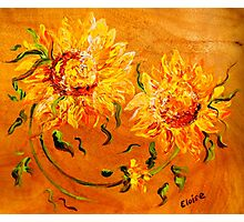 Fiery Sunflowers on Wood Photographic Print