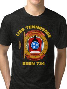 USS Tennessee (SSBN-734) Crest for Dark Colors Tri-blend T-Shirt