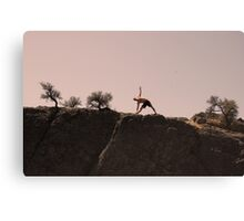 stretching in the desert Canvas Print