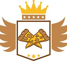 Pizza banner crest delicious king Favorite Food salami mushrooms by Style-O-Mat