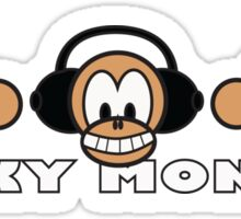 cartoon style three funky monkey Sticker