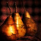 3 golden pears by Clare Colins