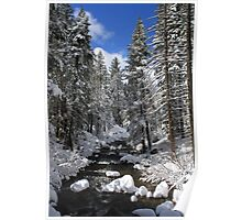 Mountain River Winter Landscape Poster