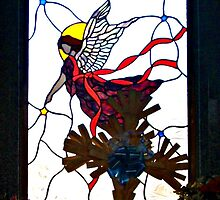A Modern Angel Design Stained Glass Window at Easter by Jane Neill-Hancock