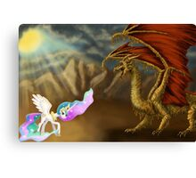 Princess Celestia fighting Spaghetti Dragon  Canvas Print