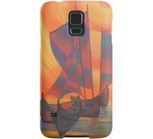 Red Sails in the Sunset Cubist Junk Abstract Samsung Galaxy Case/Skin
