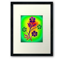 Abstract flowers on green Framed Print