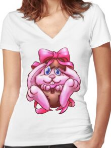 Easter Bunny_ pink Women's Fitted V-Neck T-Shirt