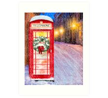 Very British Christmas - Cheerful Red Telephone Booth Art Print