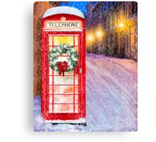 Very British Christmas - Cheerful Red Telephone Booth Canvas Print