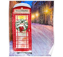 Very British Christmas - Cheerful Red Telephone Booth Poster