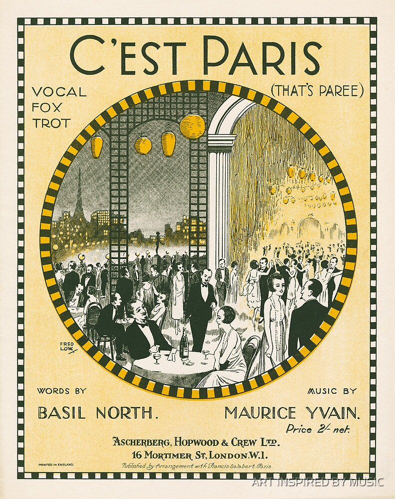 C'EST PARIS (vintage illustration) by ART INSPIRED BY MUSIC