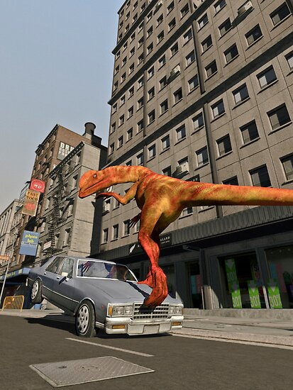 Dinosaur Trampling Car in the City  by Nathan Leary