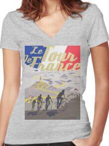 Le Tour de France retro poster Women's Fitted V-Neck T-Shirt