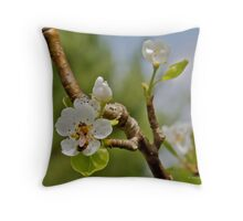 Pear Blossom and Bee Throw Pillow
