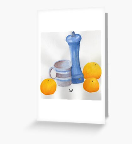 Still Life - Cup, Pepperpot & Oranges Greeting Card