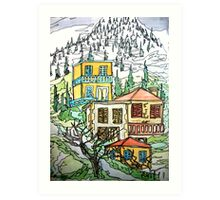 Karpenisi, Greece. Water colour & Ink Art Print
