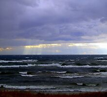Sun Rays over Lake Michigan by BarbL