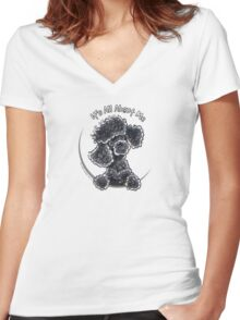 Black Toy Poodle IAAM Women's Fitted V-Neck T-Shirt