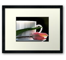 Demitasse and Tulips Framed Print