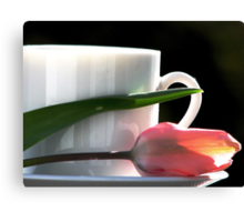 Demitasse and Tulips Canvas Print