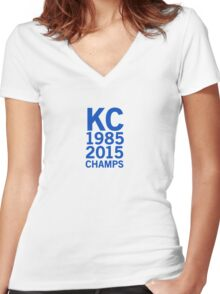Kansas City Royals 2015 World Series Champs (blue font) Women's Fitted V-Neck T-Shirt