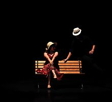 Couple on a park bench at night (stage performance)  by PhotoStock-Isra