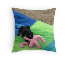 'GOT YA!' I love my pink cuddly monkey. Doberman Pup. Throw Pillow
