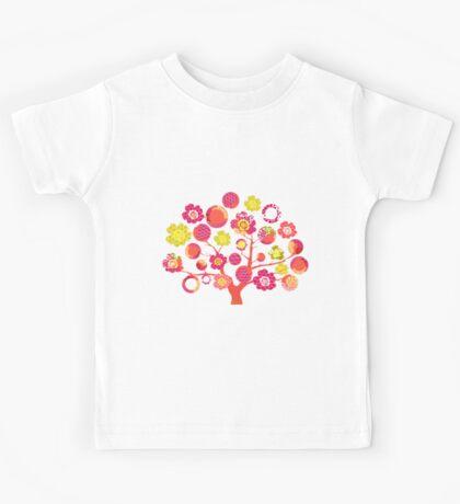 tree of life - pink & yellow Kids Tee