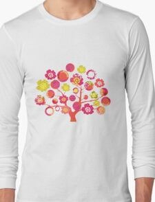 tree of life - pink & yellow Long Sleeve T-Shirt