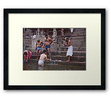 Ganges Bathers Framed Print