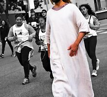 Jesus walks the LA MARATHON in Birkenstocks by Rebecca Dru
