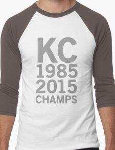 KC Royals 2015 Champions LARGE GRAY FONT Men's Baseball ¾ T-Shirt