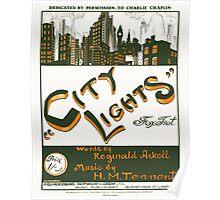 CITY LIGHTS (vintage illustration) Poster