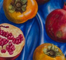 Pomegranates and persimmons on blue silk Sticker