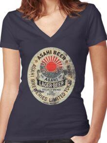 japanese beer Women's Fitted V-Neck T-Shirt