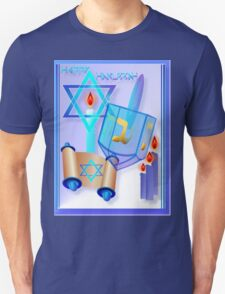 Blue Glass Dreidel-Happy Hanukkah Unisex T-Shirt